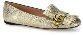 Gucci Marmont GG Metallic Leather Kiltie Flats