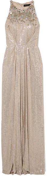 Jenny Packham Gathered Embellished Silk-chiffon Gown