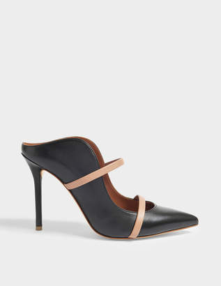 Malone Souliers Maureen 100 High Mule Shoes in Black and Nude Nappa Leather