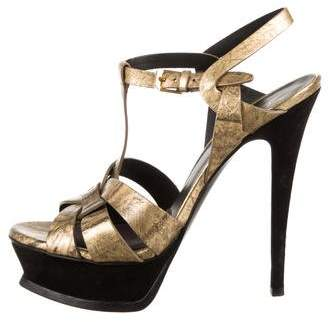 Saint Laurent Eelskin Metallic Tribute Sandals