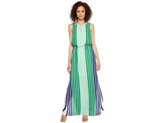Adrianna Papell Beta Stripe Printed Georgrette Blouson Keyhole Maxi Dress Women's Dress