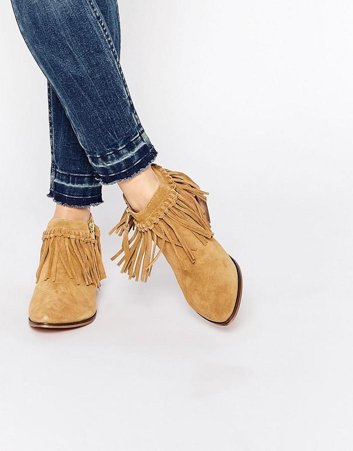 AldoALDO Wadia Camel Suede Tassel Western Flat Boots