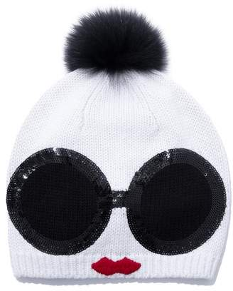 Alice + Olivia Rinn Staceface Beanie With Fur