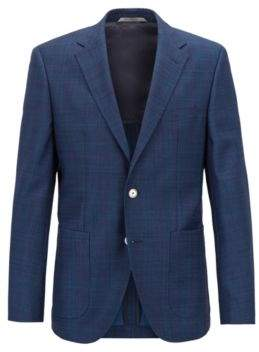 BOSS Hugo Regular-fit checked jacket in Italian virgin wool serge 40R Open Blue