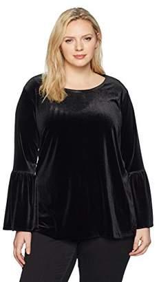 Calvin Klein Women's Plus Size Velvet Bell Sleeve