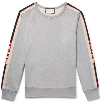 Gucci Webbing-Trimmed Loopback Cotton-Jersey Sweatshirt
