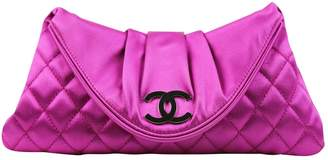 Chanel Pink Silk Clutch Bag