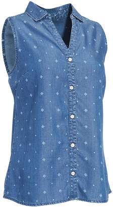 Ems Women's Printed Chambray Sleeveless Shirt