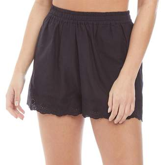 fbd86f3ce2 Board Angels Womens Cotton Shorts With Broderie Anglaise Hem Trim Black