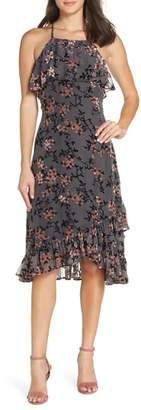 AVEC LES FILLES Velvet Burnout Ruffle Dress