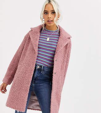 Asos DESIGN Petite textured cocoon coat in pink
