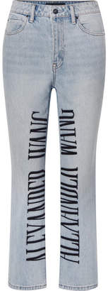 Alexander Wang Cult Embroidered High-rise Straight-leg Jeans - Light denim