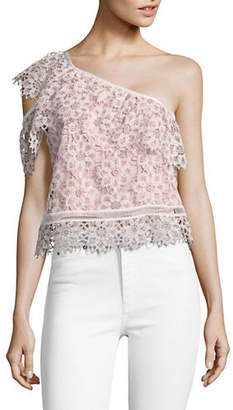 Saylor Mary Floral Lace One-Shoulder Top