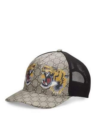 Gucci Tigers-Print GG Supreme Baseball Hat, Dark Brown/Black