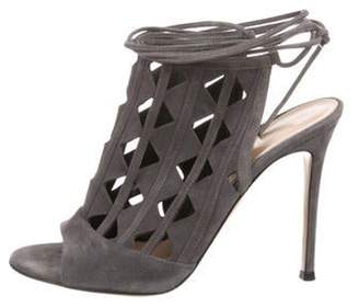 Gianvito Rossi Suede Caged Sandals Grey Suede Caged Sandals