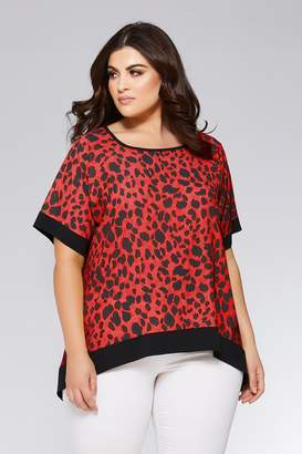 278abb679412d2 Quiz Curve Red and Black Leopard Print Contrast Hem Top