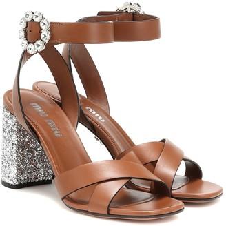 Miu Miu Glitter and leather sandals
