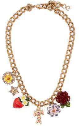 Dolce & Gabbana Strawberry, Rose, Crystal And Charm Necklace - Womens - Red