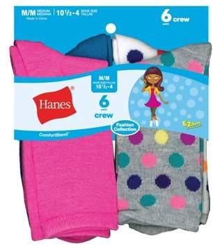 Hanes Girls' Crew Socks, 6 Pairs (Big Girls)