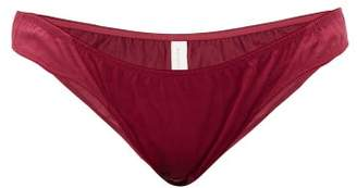 Rossell England - Panelled Cotton Pointelle Briefs - Womens - Ruby