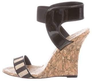Manolo Blahnik Woven Ankle-Strap Wedges