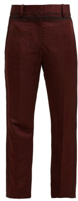 Haider Ackermann Embroidered Linen Blend Sateen Trousers - Womens - Brown