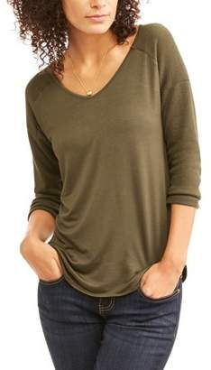Generic Women's 3/4 Sleeve Vneck Raglan Baseball T-Shirt
