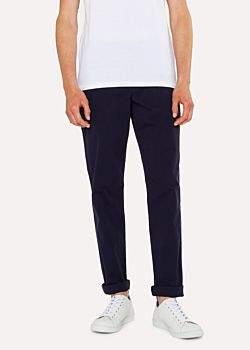Men's Tapered-Fit Dark Navy Stretch Pima-Cotton Chinos