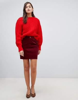 Asos DESIGN cord original skirt in berry