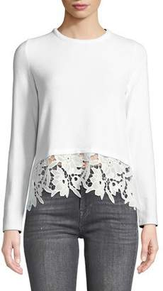 Generation Love Kinsley Self-Tie Back Pullover with Lace Hem