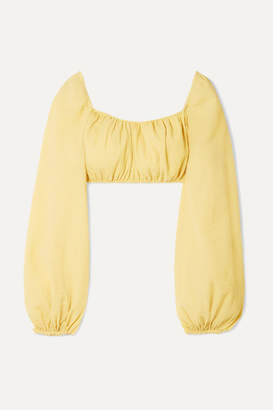 Cult Gaia Clara Cropped Crinkled Cotton-blend Top - Pastel yellow