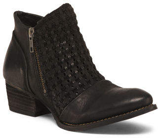 Stacked Heel Leather Ankle Booties