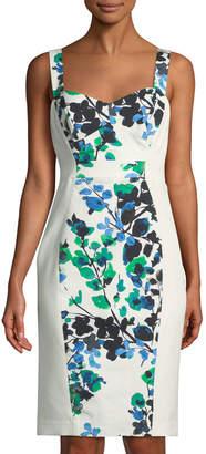 Black Halo Sadie Floral-Paneled Bustier Dress, Blue