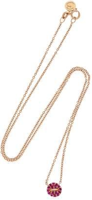 Mini Button Pink Pave Necklace