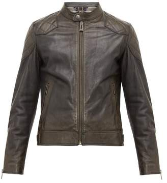 Belstaff Outlaw Quilted Panel Leather Jacket - Mens - Black