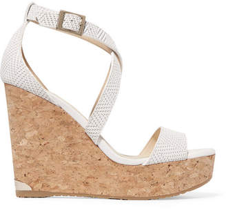 Jimmy Choo Portia 120 Woven Leather Wedge Sandals - White