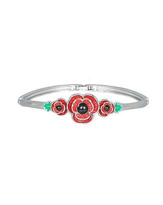 Fashion World Rhodium plated enamel Poppy bangle