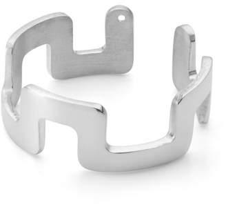 Ekria - Small Square Stackable Midi Ring Shiny White Gold