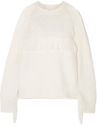 Frame Fringed Cotton-blend Sweater - Cream