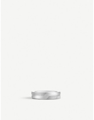 De Beers Promise half textured 18ct white-gold ring