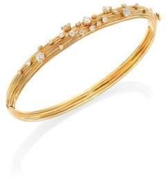 Hueb Plisse 18K Yellow Gold& Diamond Bangle Bracelet
