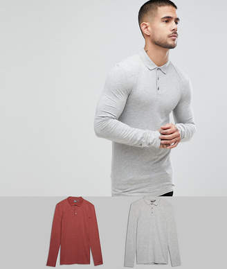 Asos Design Muscle Fit Long Sleeve Jersey Polo 2 Pack Save