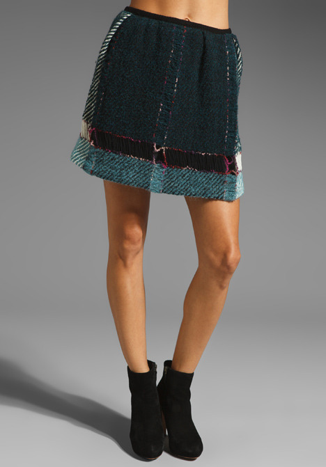 Anna Sui Serape Plaid Skirt