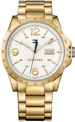 Tommy Hilfiger Men's Casual Sport Gold-Tone Ion-Plated Stainless Steel Bracelet Watch 46mm $135 thestylecure.com