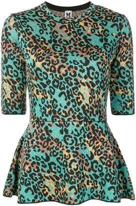M Missoni leopard lurex knit peplum top