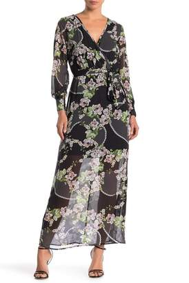 SUPERFOXX Long Sleeve Floral Print Waist Tie Maxi Dress