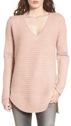 Hinge Lace Inset V-Neck Sweater