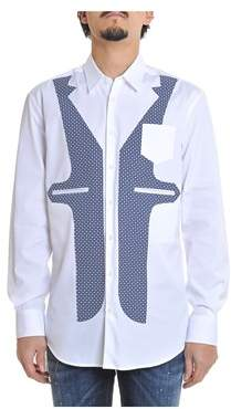 DSQUARED2 Men's White/blue Cotton Shirt.