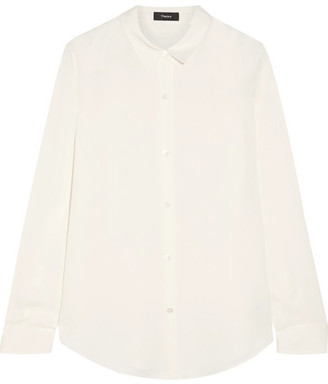 Theory Tenia Silk Crepe De Chine Shirt - Ivory