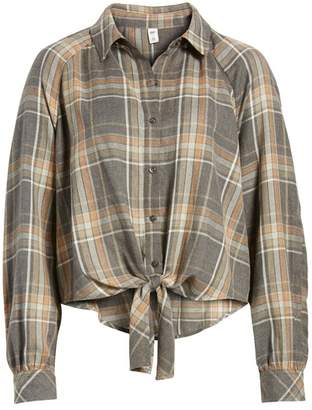 BP Tie Front Plaid Shirt